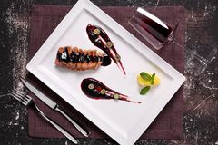 Duck breast in sauce with Apple jam and wine stock images