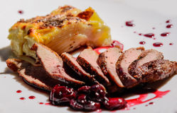 Duck breast with sauce Royalty Free Stock Images