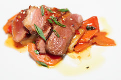 Duck breast with savory sauce. Duck fillet with savory sauce, asian style dish Royalty Free Stock Photography