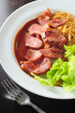 Duck breast spaghetti Stock Photos