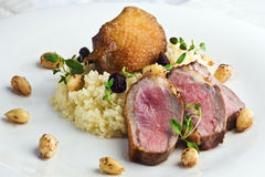 Duck breast steak with couscous Royalty Free Stock Image