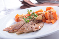 Duck breast with vegetables Stock Photography