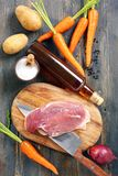 Duck breast,vegetables and spices. Duck breast on a cutting board vegetables and spices Stock Photography