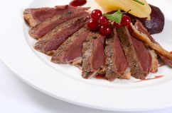 Duck breast in wine sauce Royalty Free Stock Images