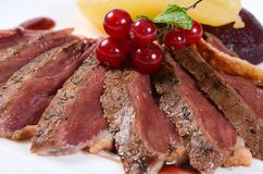 Duck breast in wine sauce Stock Photography