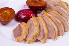 Duck Breasts with Roasted Plums. Royalty Free Stock Photos