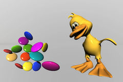 Duck and candy. 3d computer generated Stock Image