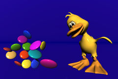Duck and candy. 3d computer generated Royalty Free Stock Photo