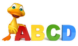 Duck cartoon character with ABCD sign. 3d rendered illustration of Duck cartoon character with ABCD sign Stock Photos