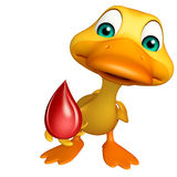 Duck cartoon character with blood drop Royalty Free Stock Image