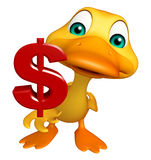 Duck cartoon character with dollar sign Stock Images