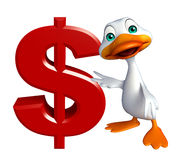 Duck cartoon character with doller sign Stock Photos