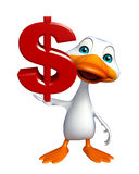 Duck cartoon character with doller sign Royalty Free Stock Photography