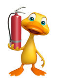 Duck cartoon character with fire extinguisher. 3d rendered illustration of Duck cartoon character with fire extinguisher Stock Photos