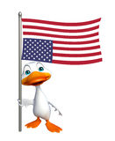 Duck cartoon character with flag. 3d rendered illustration of Duck cartoon character with flag Royalty Free Stock Images