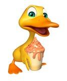 Duck cartoon character with ice cream Stock Image