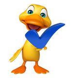 Duck cartoon character with right sign Royalty Free Stock Photography