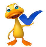 Duck cartoon character with right sign Stock Image