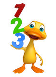 Duck cartoon character with 123 sign Stock Photo