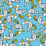 Duck cartoon pattern. Drake drawing ornament. Bird background.  Stock Photos