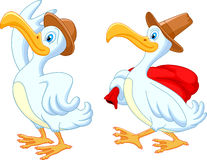 Duck cartoon traveling with hat Royalty Free Stock Photo