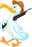 Duck cartoon walking with rifle Stock Photos