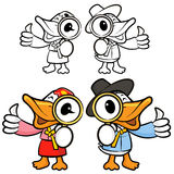 Duck Chef mascot examine a with a magnifying glass. Bird Charact Stock Images