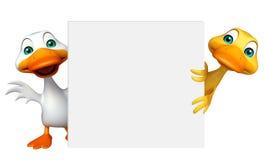 Duck Collection met witte raad Stock Afbeeldingen