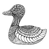 Duck coloring page for children and adults. stock illustration