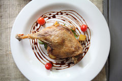 Duck confit , Roasted duck leg Stock Images
