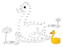 Duck Connect the dots and color. Vector Stock Photos