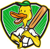 Duck Cricket Player Batsman Cartoon Royalty Free Stock Images