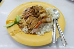 Duck and Crispy pork rice, Thai style stock photo