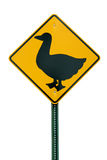 Duck crossing sign Stock Photo