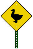 Duck crossing sign Stock Images