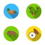 Duck, deer antlers, compass, wild boar.Hunting set collection icons in flat style vector symbol stock illustration web. Stock Photo