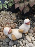 Duck dolls on stone at garden Stock Photo
