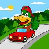 Duck Driving un coche ilustración del vector