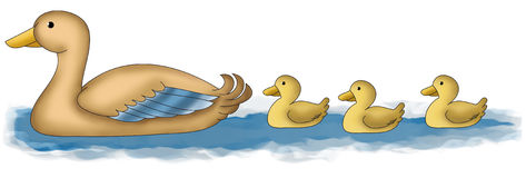 Duck and ducklings. Funny cartoon animal - mother duck with ducklings Stock Images