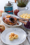 Duck with dumplings and pickled plum Stock Photo