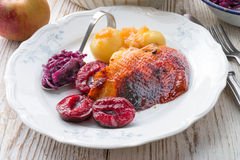 Duck with dumplings and pickled plum Royalty Free Stock Photography