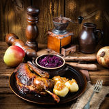 Duck with dumplings and pickled plum Royalty Free Stock Images