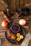 Duck with dumplings and pickled plum Royalty Free Stock Image