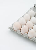 Duck eggs. In plastick bag on white background royalty free stock photo