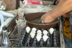 Duck eggs are washed and placed in a tray. stock photo