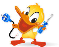 Duck - Electrician illustration Duck - Electrici. Duck - Electrician Royalty Free Stock Image
