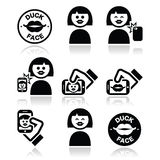 Duck face, girl taking selfie with smartphone icons set Stock Image