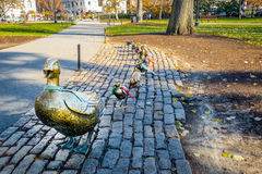 Duck family brass statues at Boston Public Gardens - Boston, Massachusetts, USA. Duck family brass statues at Boston Public Gardens in Boston, Massachusetts, USA stock images