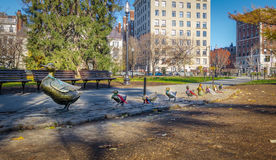 Duck family brass statues at Boston Public Gardens - Boston, Massachusetts, USA. Duck family brass statues at Boston Public Gardens in Boston, Massachusetts, USA royalty free stock photo