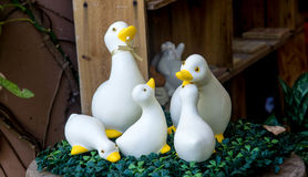 Duck. Family duck toy white On the green plastic stock photos